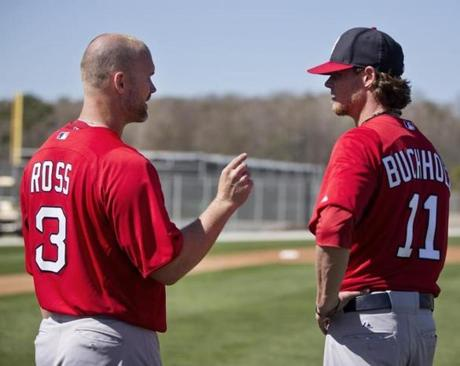 Backup catcher David Ross, left with Clay Buchholz, was someone the Red Sox prioritized as an addition this offseason.